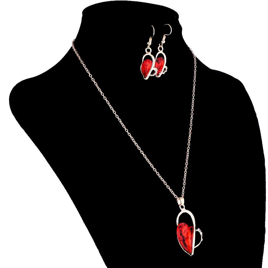 GuangquanStrade Wedding Bridal Party Prom Crystal Heart Necklace Earrings Jewelry Set Red