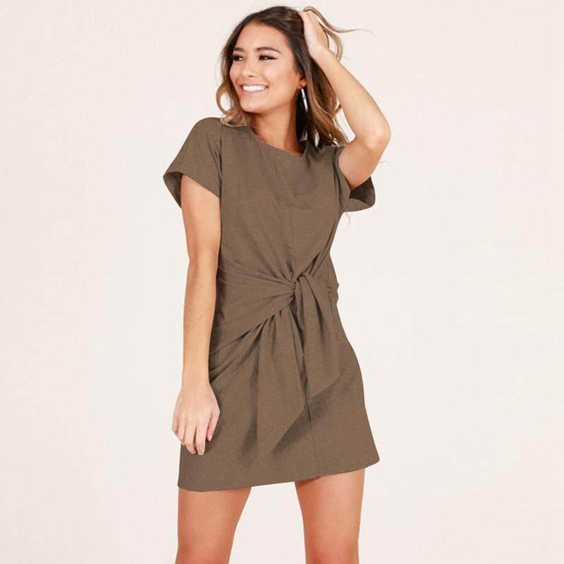 5fd8ee3dd2a Lyprerazy Women Summer Solid Dress Soft Short Sleeve Black Bow Tie Casual  Mini Cotton Linen T