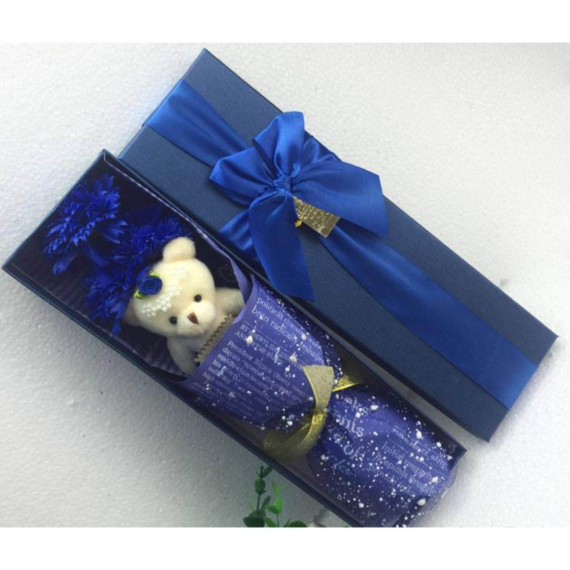 3 Carnation Bouquet With Bear  Gift Box