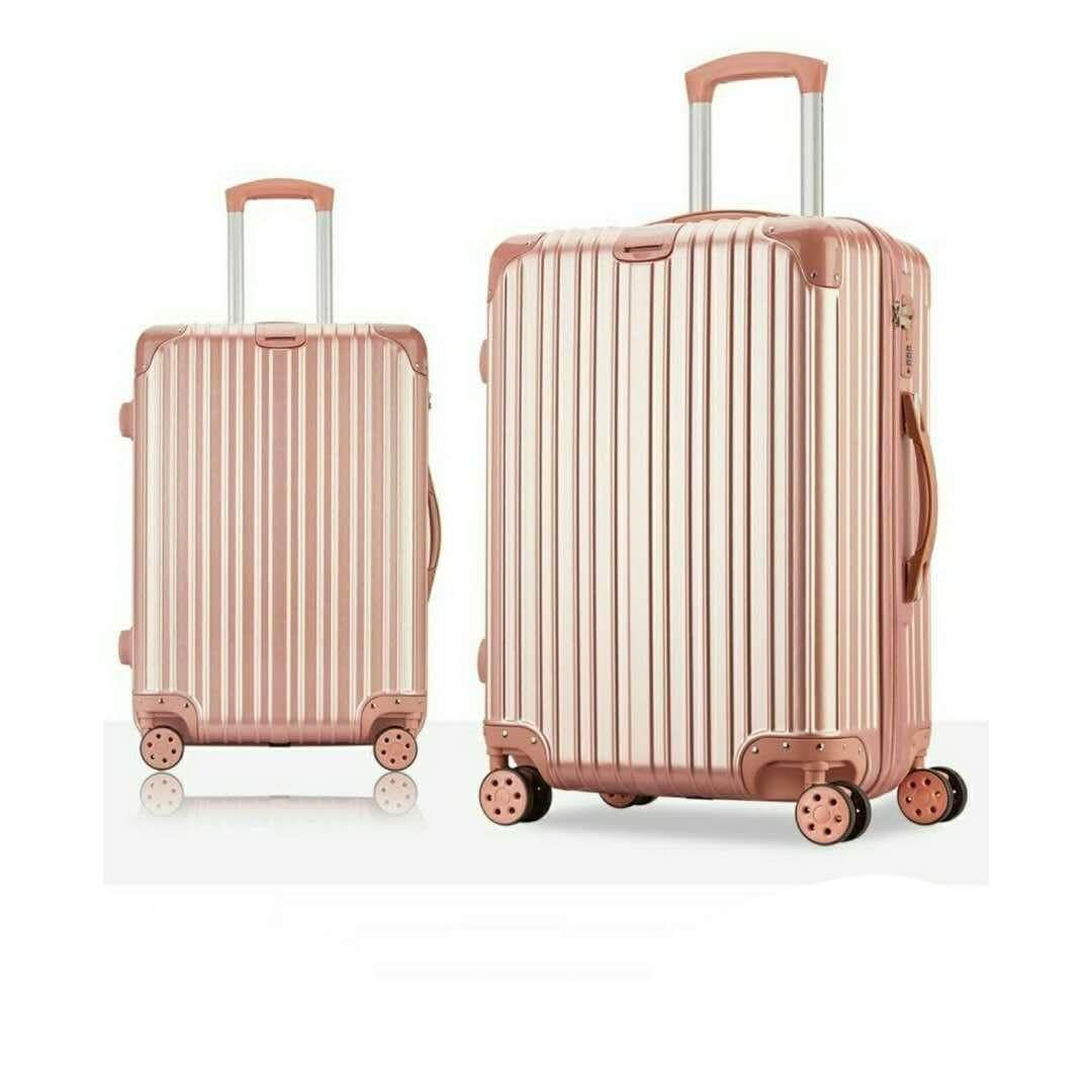 2 in 1 Luggage Bag Set Travel Bag with Wheel 20 inch & 24 inch  (Rose Gold Color)
