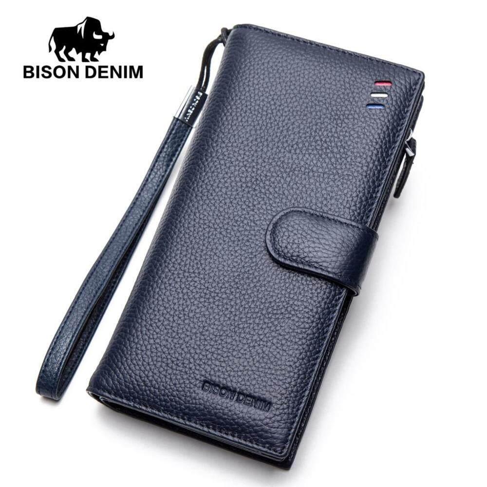 -54%. BISON DENIM fashion luxury brand men wallets genuine leather long business male clutch purse ...