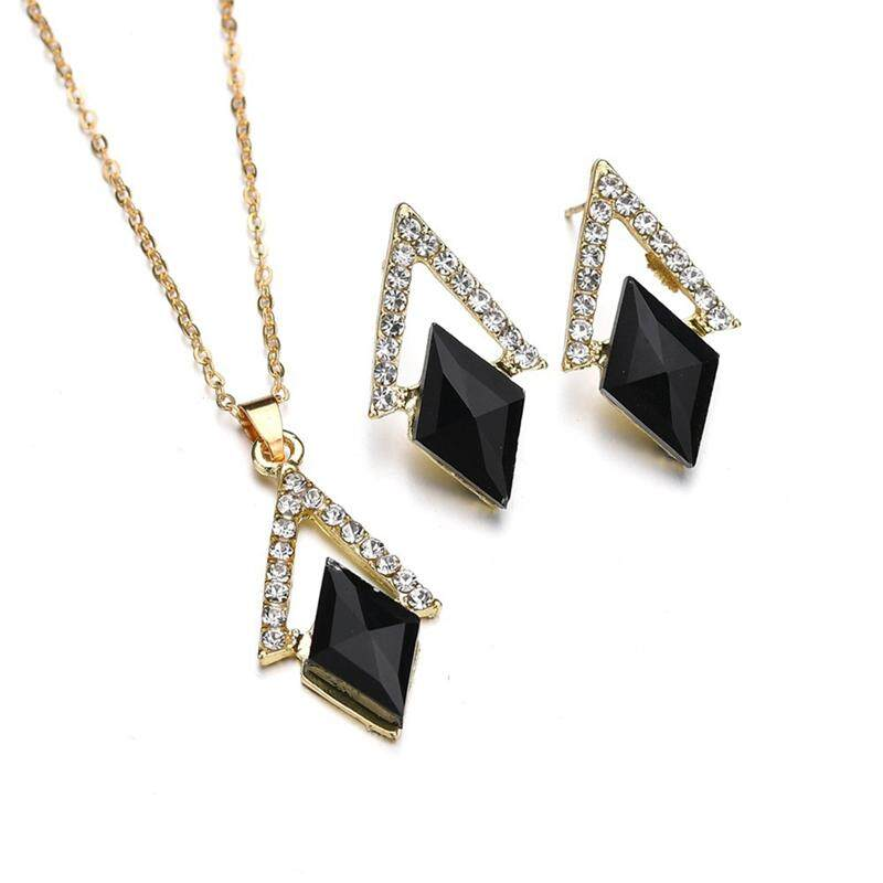 Linfang Perhiasan Perempuan 3 Pcs Set Boutique Diamond Crystal Kalung Liontin Anting-Anting