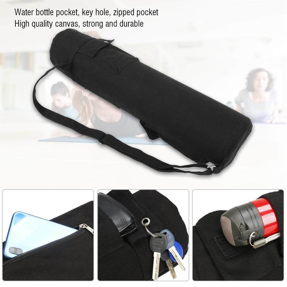 cfd5aba926 Justgogo Multifunctional Black Canvas Yoga Mat Storage Bag Carrier Backpack  with Adjustable Strap