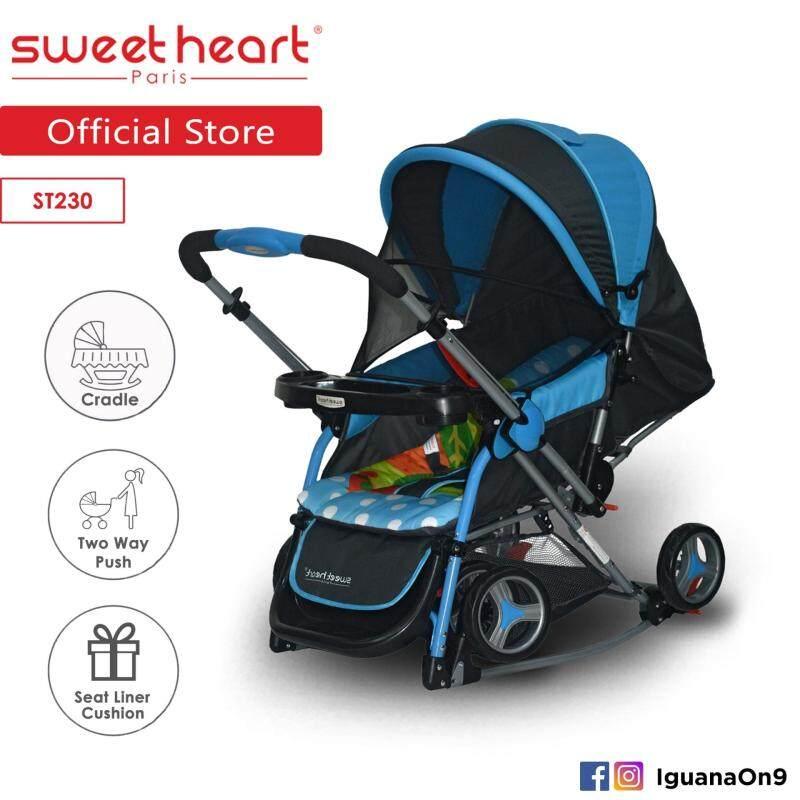 Sweet Heart Paris Aluminium 2IN1 Stroller + Rocker Cradle ST230 (Blue) Bundle with Mosquito Net & Reversible Handlebar Singapore