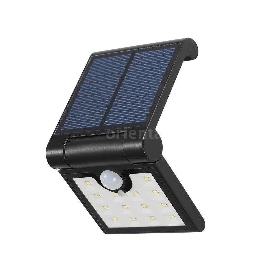 14 LEDs Foldable Solar Powered Energy Wall Lamp with Sensitive PIR Motion Sensor Light Control IP65 Water Resistance SMD2835 for Patio Yard Garden Outdoor - intl