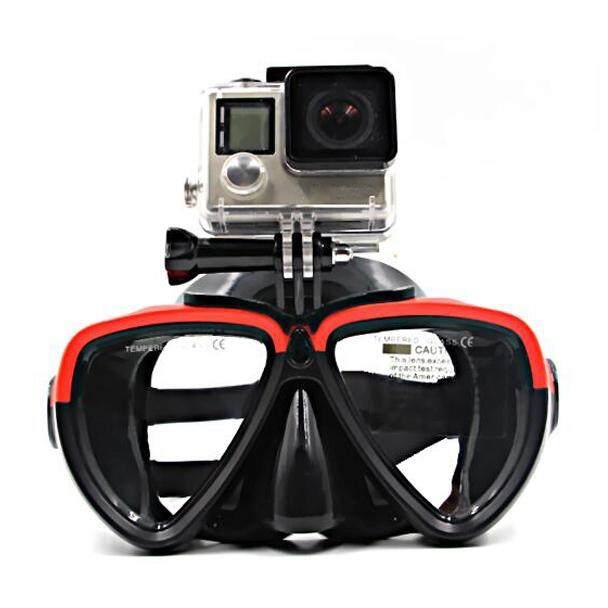 Scuba Kacamata Menyelam Snorkeling Berenang Tempered Glasse untuk GoPro Hero 5, HERO 4/3/2/1 Xiaoyi Kamera Aksi, Merah Hitam 3