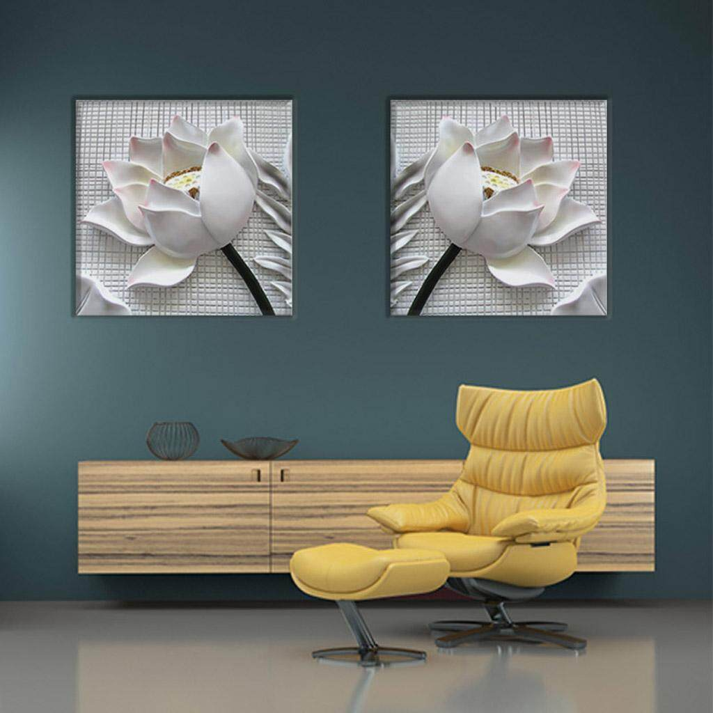 Fityle 2 Panels 3D Effect White Rose Flower Wall Art Canvas Print Picture Painting for Living Room