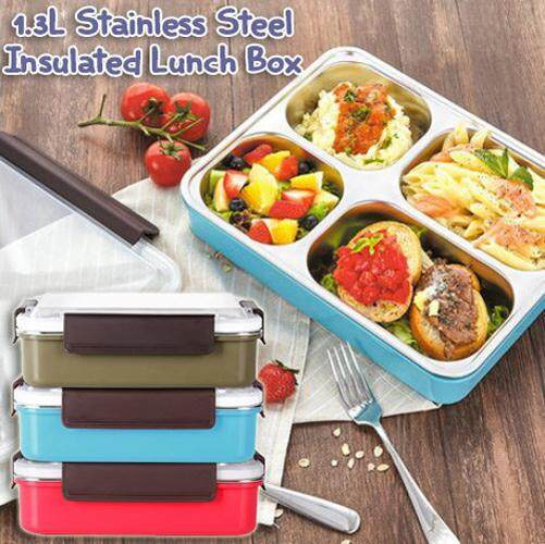 1.3L Stainless Steel 5 Compartment Insulated Lunch Box - Random Colour