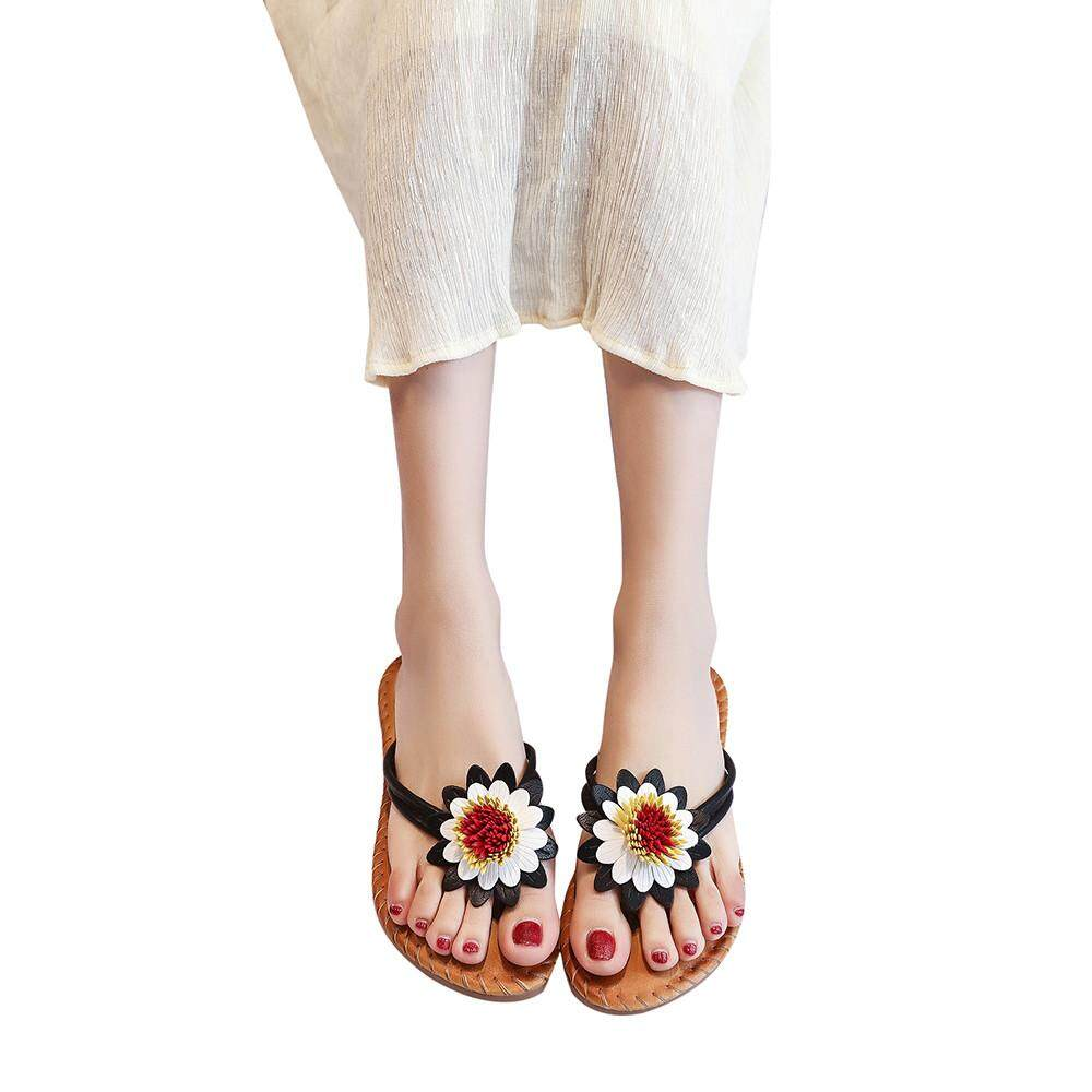 1c37fb005 Opentenes Women Fashion Solid Color Flower Flat Heel Sandals Slipper Beach  Shoes
