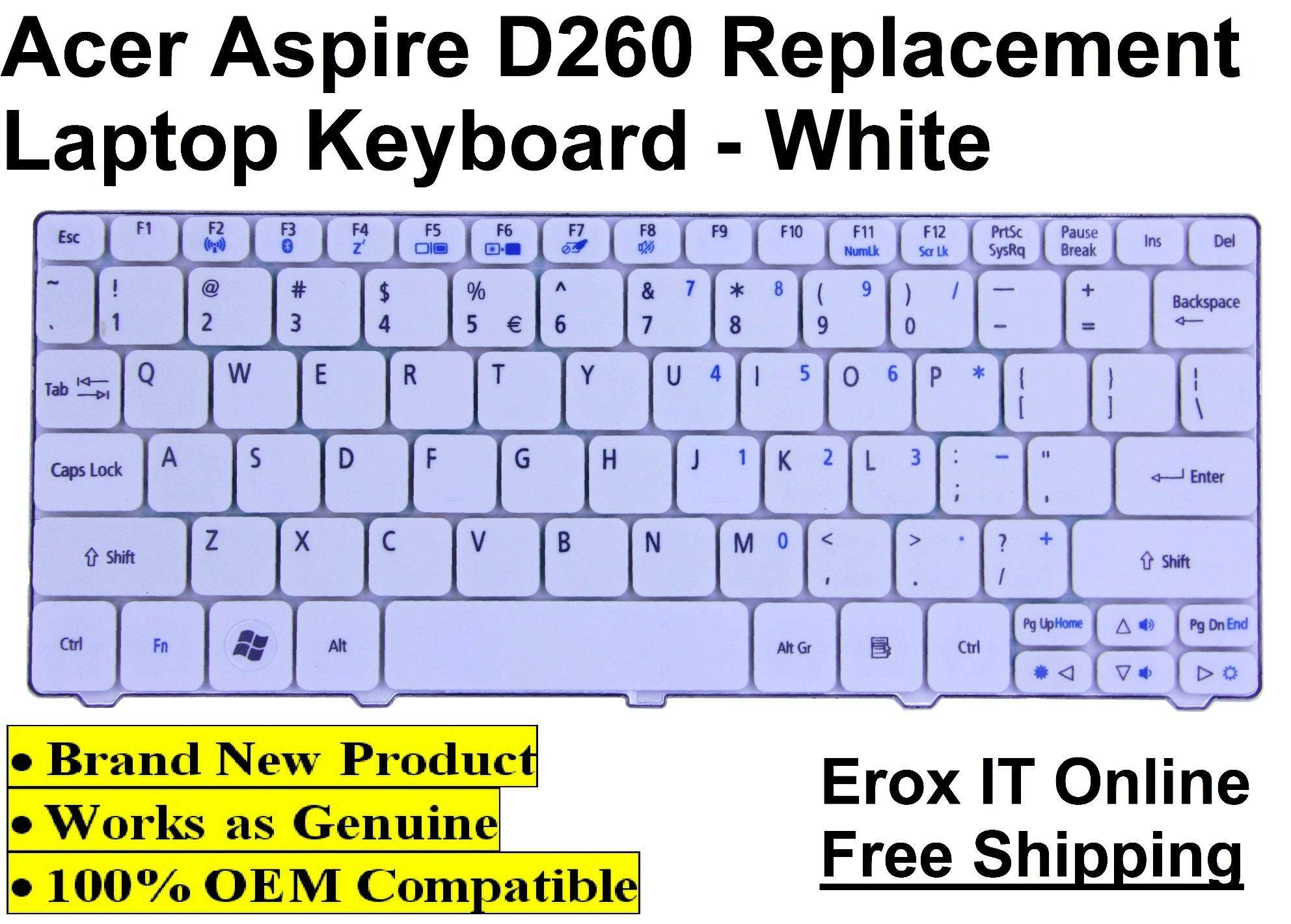 Acer Aspire One NAV50 Replacement Keyboard /Acer D260 Keyboard (White) Malaysia