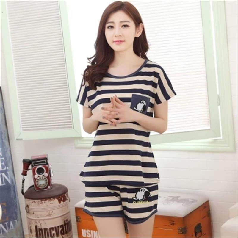 2018 Cartoon summer Women Cotton women shorts summer casual home service pajamas  comfortable Sleeve Nightgown Costume 623a69a0e