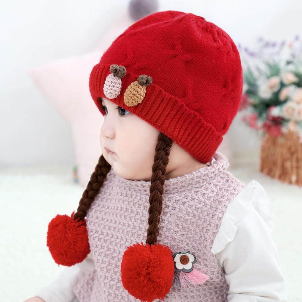 Vivimall Anak Balita Bayi Perempuan Musim Dingin Kepang Jarum Topi Kupluk Rajut Topi Hairball