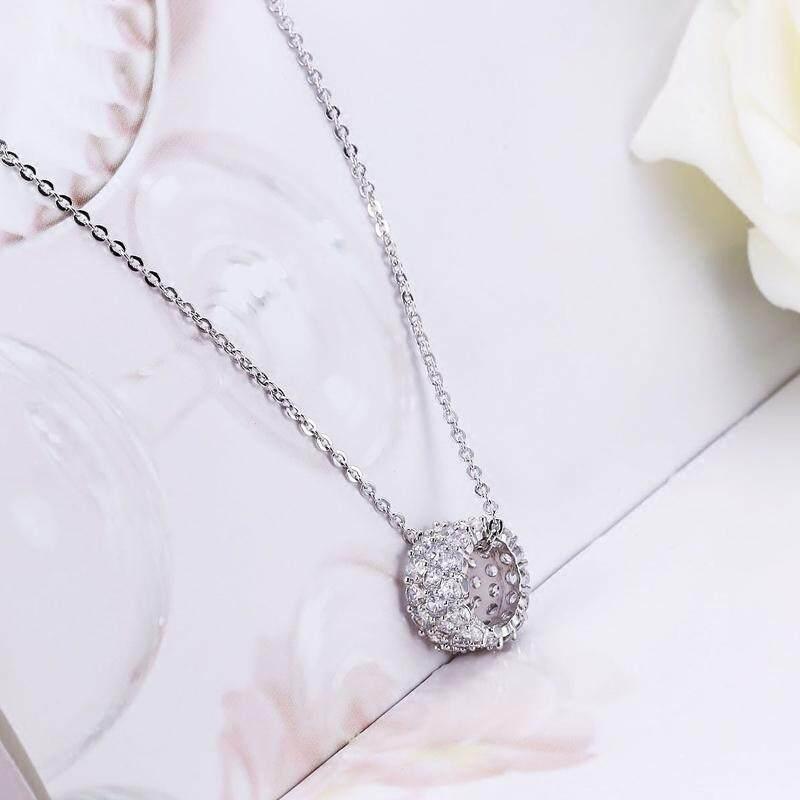 【Silver】Kalung bulat Korea aksesoris wanita temperamen liar mode penuh cincin zirkon berlian liontin