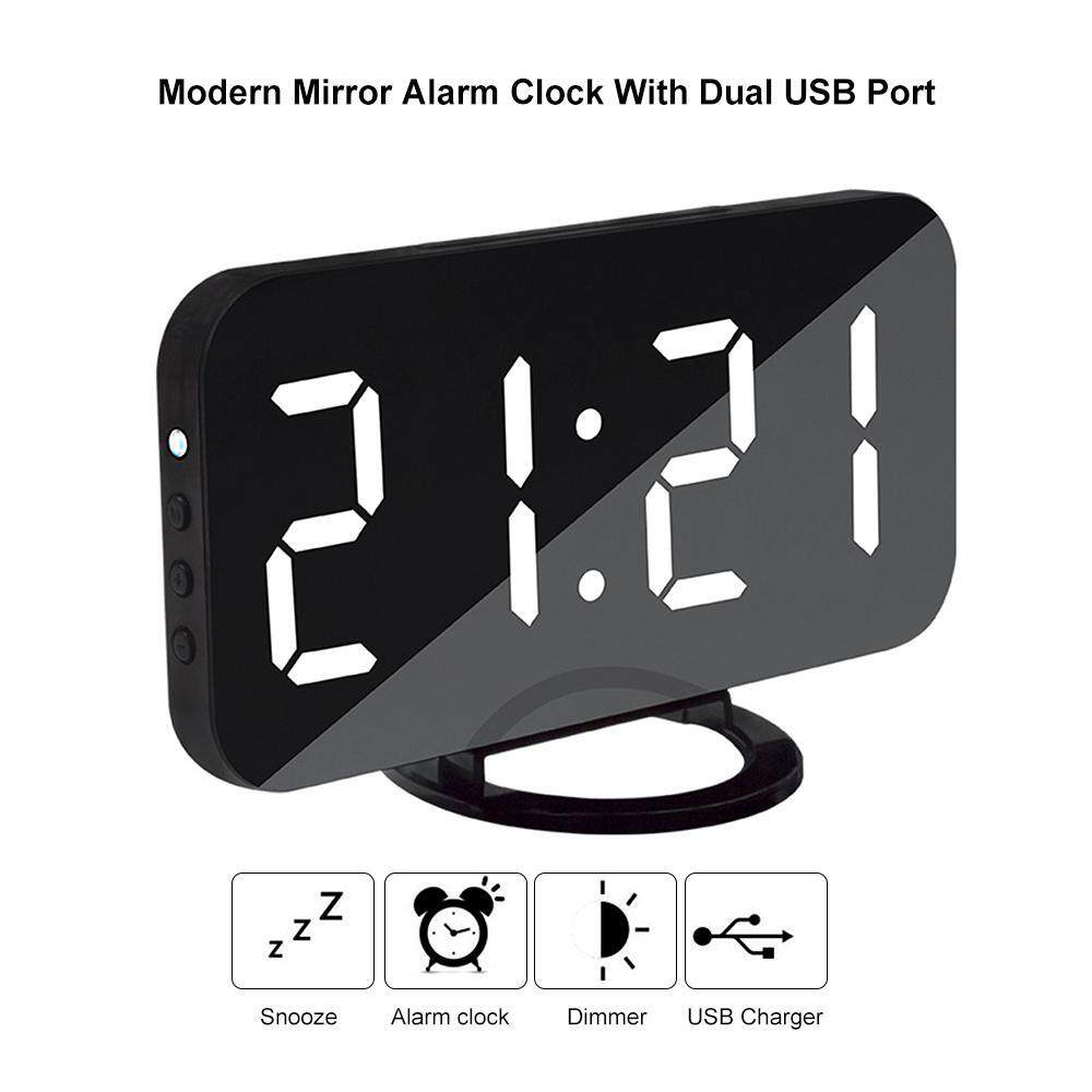niceEshop 6.5 Alarm Clock Mirror Surface Easy-Read LED Display With Snooze Function, Diming Mode, USB Charging - intl