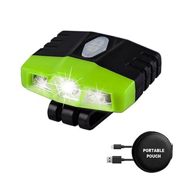 LHOTSE Rechargeable Portable LED Sensor Cap Light - 5 Lighting Modes (Spotlight Floodlight), Lightweight (1.0oz), 100 lumens Brightness, Up to 96 hours Hat light for running working hiking - (Green) - intl