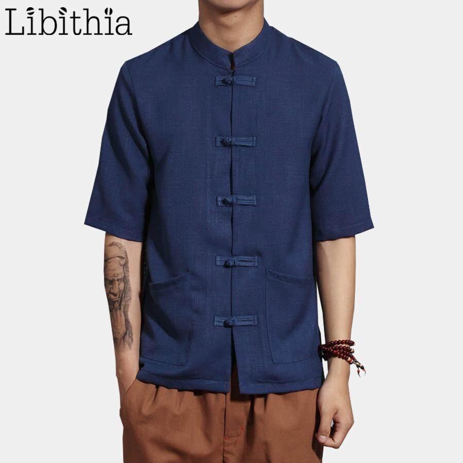 Cotton Linen Men Short Sleeve Dress Shirts Chinese Style Big Size 5XL 6XL  7XL Clothes Male 57a5a598e862