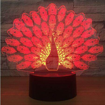 3D 7 Color Changing Peacock Romantic Atmosphere Lamp