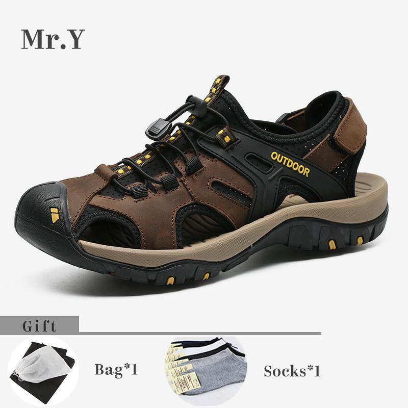 84b55321c1d9ee Mr.Y Men Sport Outdoor Hiking Sandals Breathable Trekking Shoes Trail Water  Shoes Cow Leather