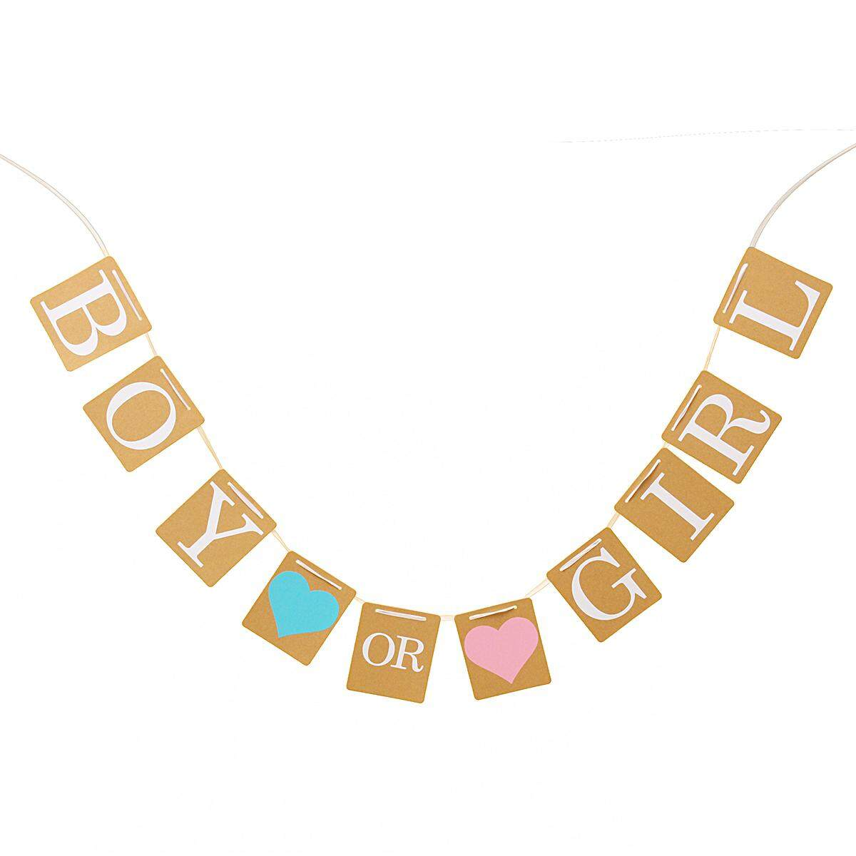Boy Or Girl Bunting Banner Baby Shower Party Garland Hanging Decoration .