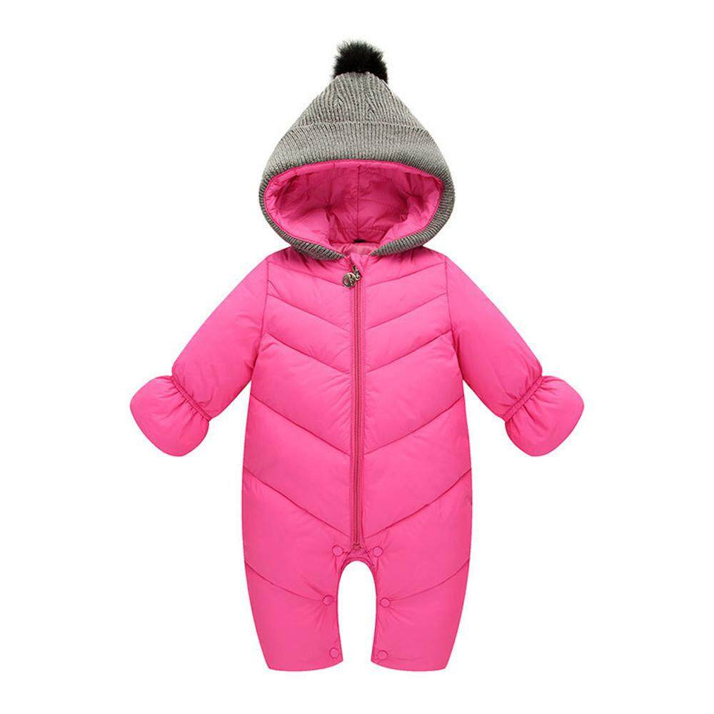 Tideshop Newborn Infant Baby Girl Boy Winter Hooded Jumpsuit Romper Thick Warm Clothes