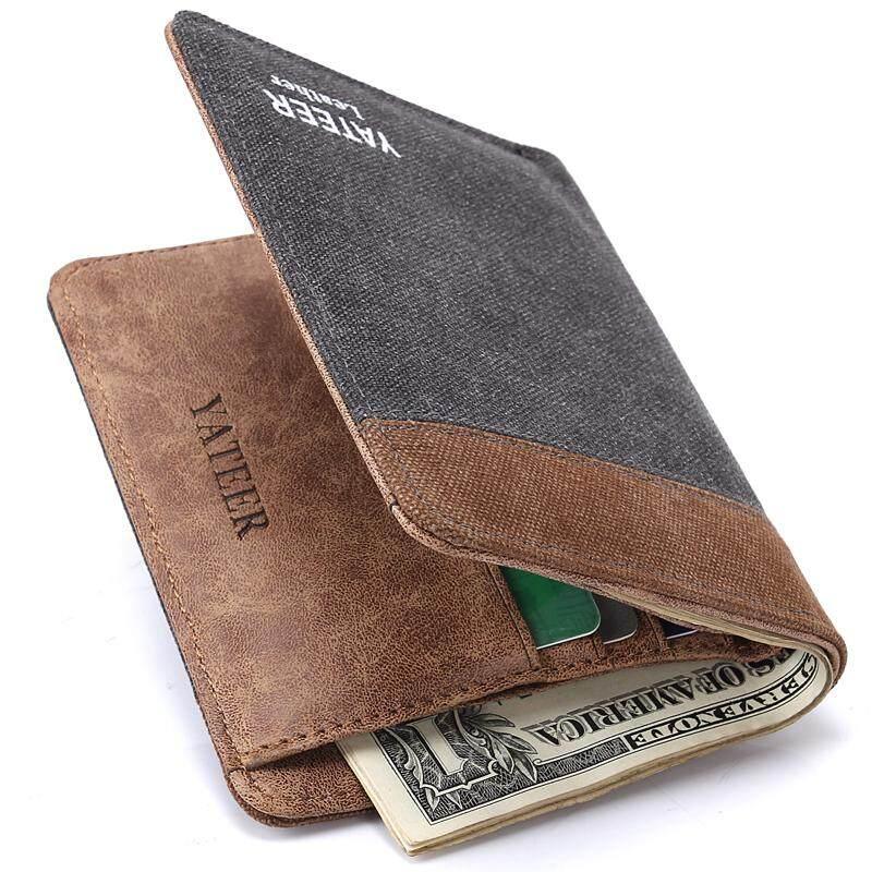 27684ccb502 Slgol Premium Quality Men Canvas Trifold Wallet Fashion Leisure Vine.  Baborry Wallets Leather Wallet Lazada Sg