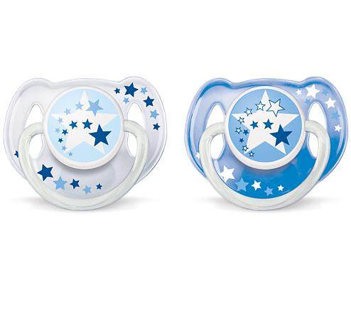 Philips Avent Glow In The Dark Night Time Soother 6-18m BLUE - Twin Pack