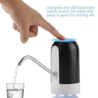epayst lower price+ready stock Portable LED Light Bottled Water Pump USB Rechargeable Dispenser for Home Office(White) thumbnail