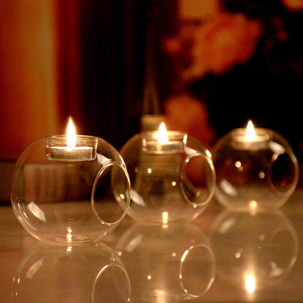 8c6c7dee99 Qearl Shop Candle Candlestick Romantic Crystal Glass Dia 8CM Decoration Tealight  Holder