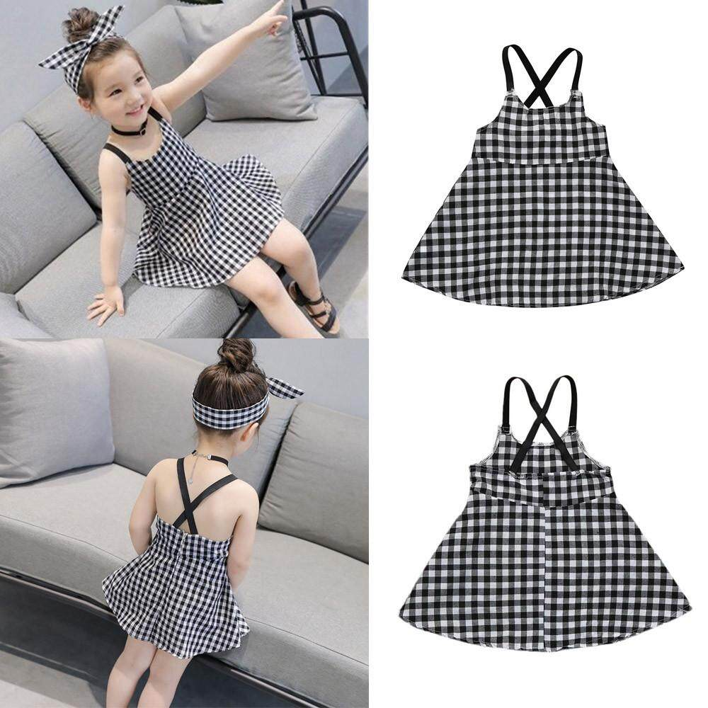 Lawsonshop Toddler Girls Princess Plaid Strap Dress Kids Baby Sleeveless Dresses  Outfits dc1e71b39b57