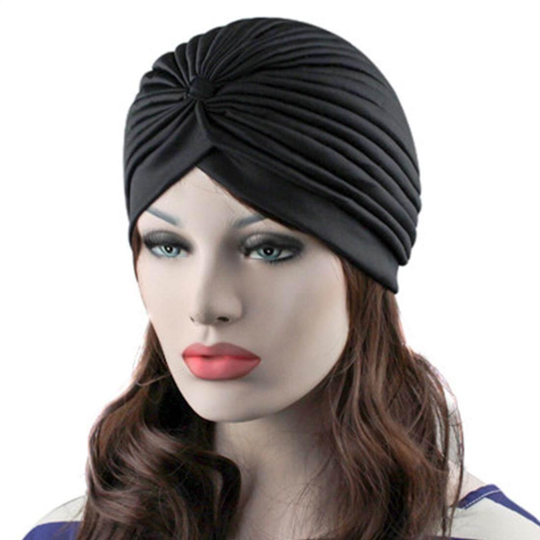 96c148eb224 Head Wrap Knit Bonnet Twisted Pleated Stretchable Turban Hat Hair Wrap Cap  Women Cover Up Cap