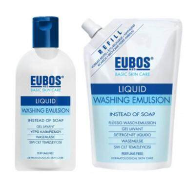 (PERFUME-FREE) EUBOS LIQUID WASHING EMULSION 400ML + REFILL 400ML (BLUE)