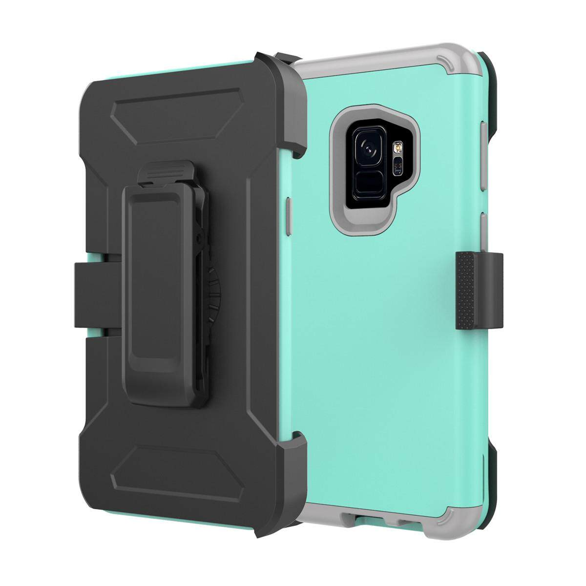 Buy For Samsung Galaxy S9 Soft Silicone Pc Hybrid Shockproof Back Case Kickstand And Swivel Belt Clip Cases Holder Cover Protective Shell Intl