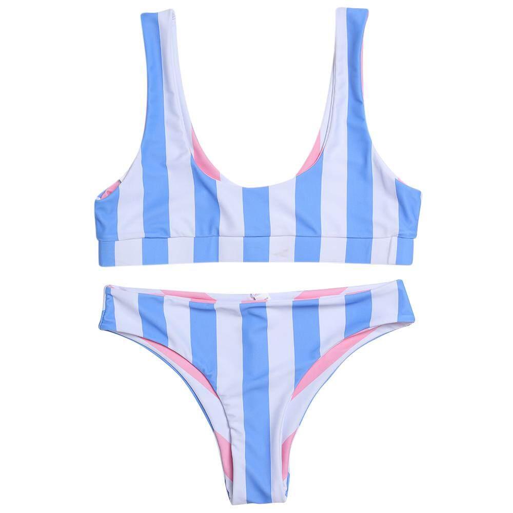 Trendi Leher Tanpa Punggung Scoop Garis Wanita Pinggang Rendah Set Bikini
