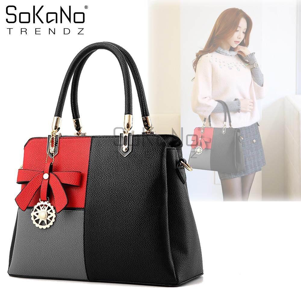 SoKaNo Trendz SKN844 Elegant Mix Colour Top Handle Tote Bag With Charms (with long strap) Handbeg Wanita