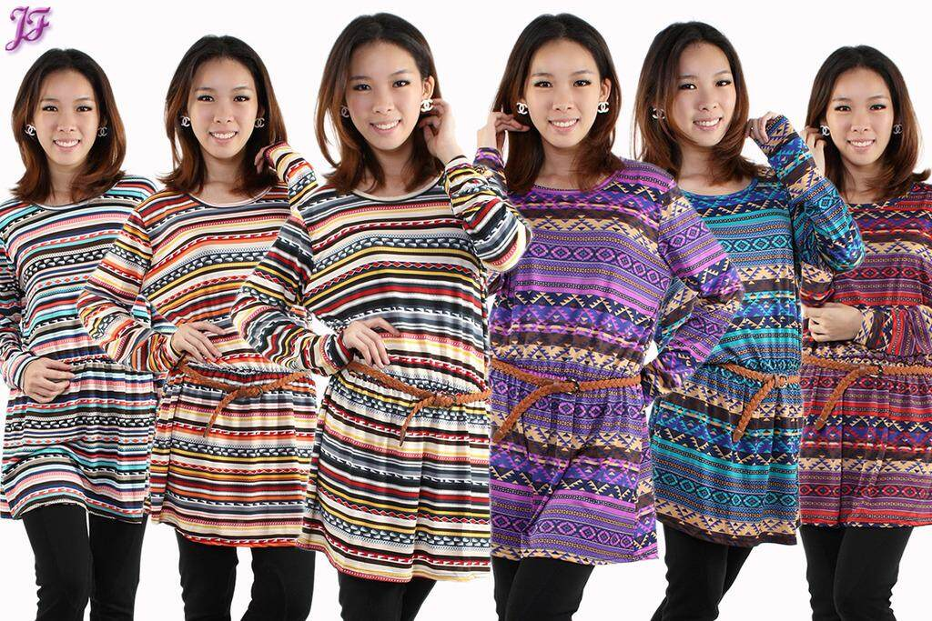 JF Fashion Long Sleeve Lycra Tribal Peplum Blouses E736