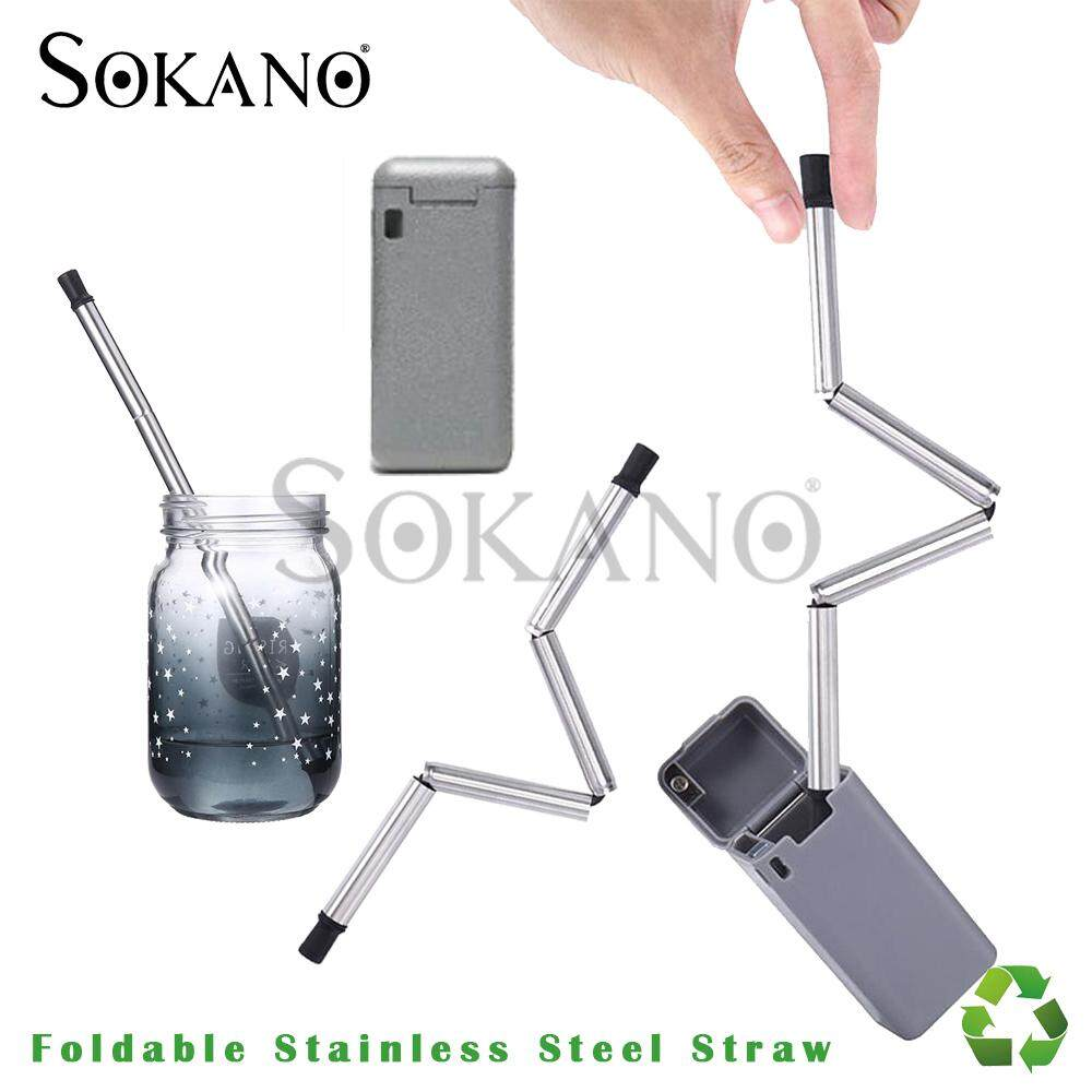 (RAYA 2019) SOKANO Foldable Stainless Steel Straw Reusable Straw Environmental Friendly Green Product (Come in a Portable Small Plastic Storage Box)