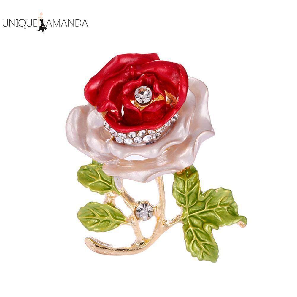 Pesona Wanita Enamel Bros Bunga Berlian Berkilau Kerah Perhiasan Pin Klip-Intl By Unique Amanda.