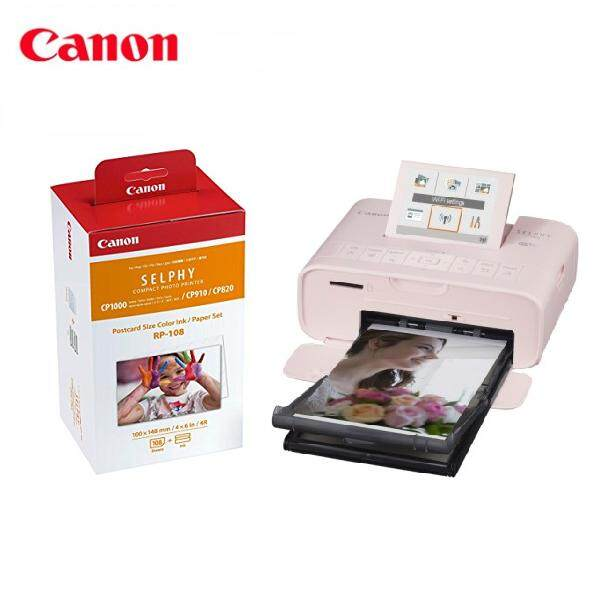 Canon Selphy CP1300 Compact Photo Printer + Canon RP-108 Color Ink/Paper Set (Pink)