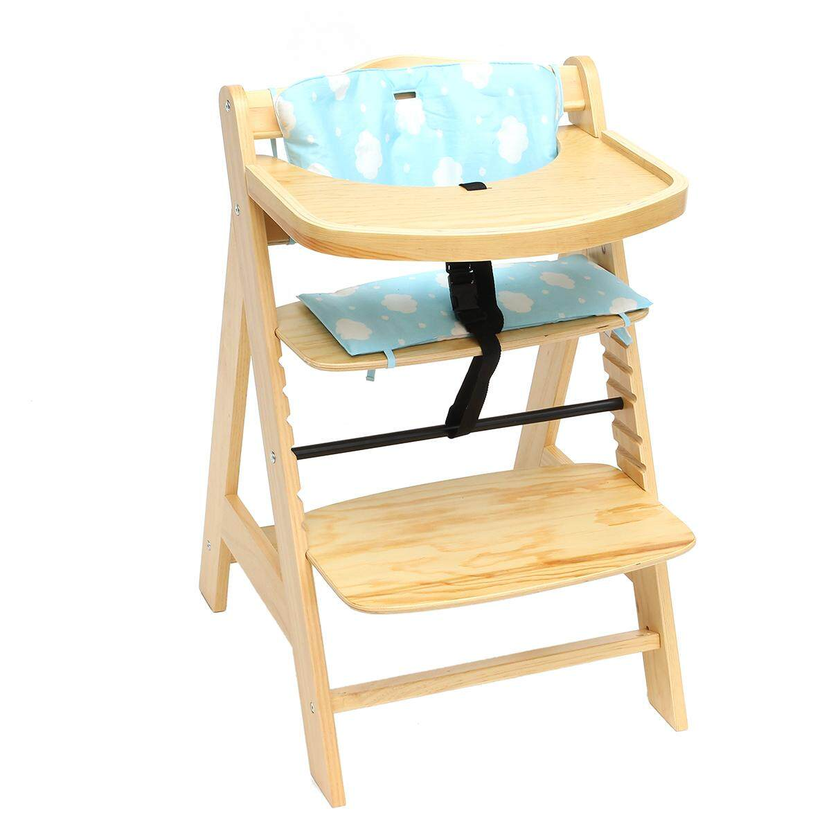 Baby High Chair 3 in 1 Wooden Highchair with Tray and Bar (BEECH) Blue - intl