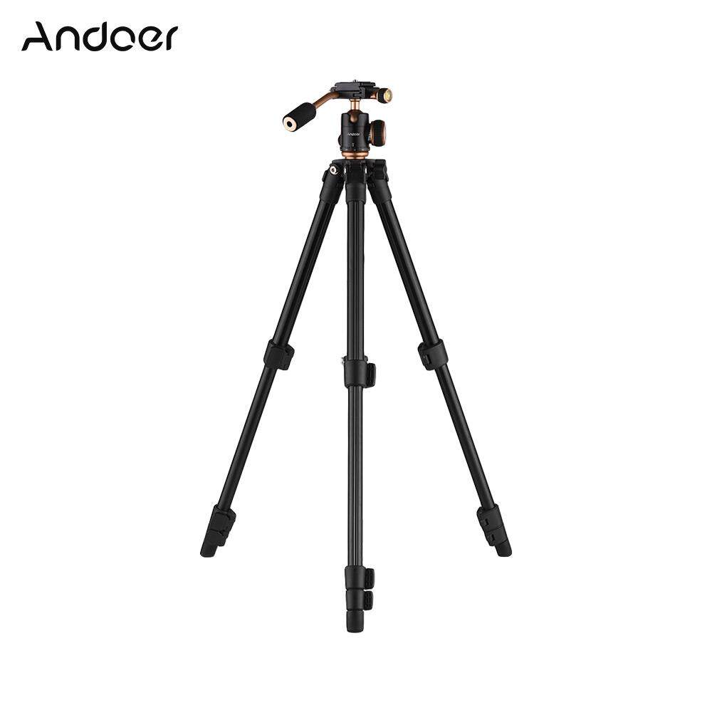 Andoer Q160S Portable Aluminum Alloy Camera Video Tripod Lightweight Travel 3-Section Tripod Flip Buckle Design with 1/4