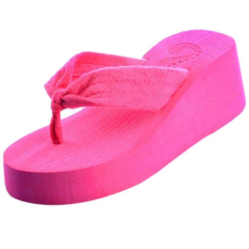 Women's beach sandals Wedges Plateau slippers Thong Flip Flops Home Rose CN 38=UNS 7