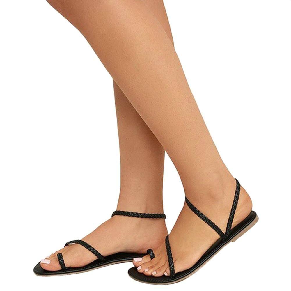 f58d6021de5 2019 Wonder Korean-style Women Summer Strappy Gladiator Low Flat Heel Flip  Flops Beach Sandals