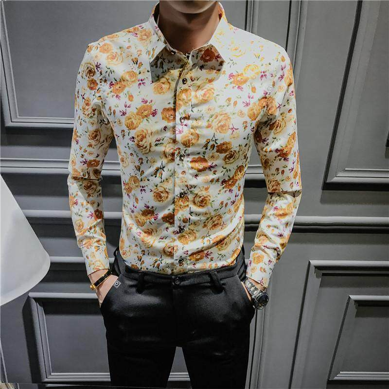 a9c2bc2a202 Winter Plus velvet Men Long sleeve Slim fit floral shirt warm shirts  (Tyrant gold (