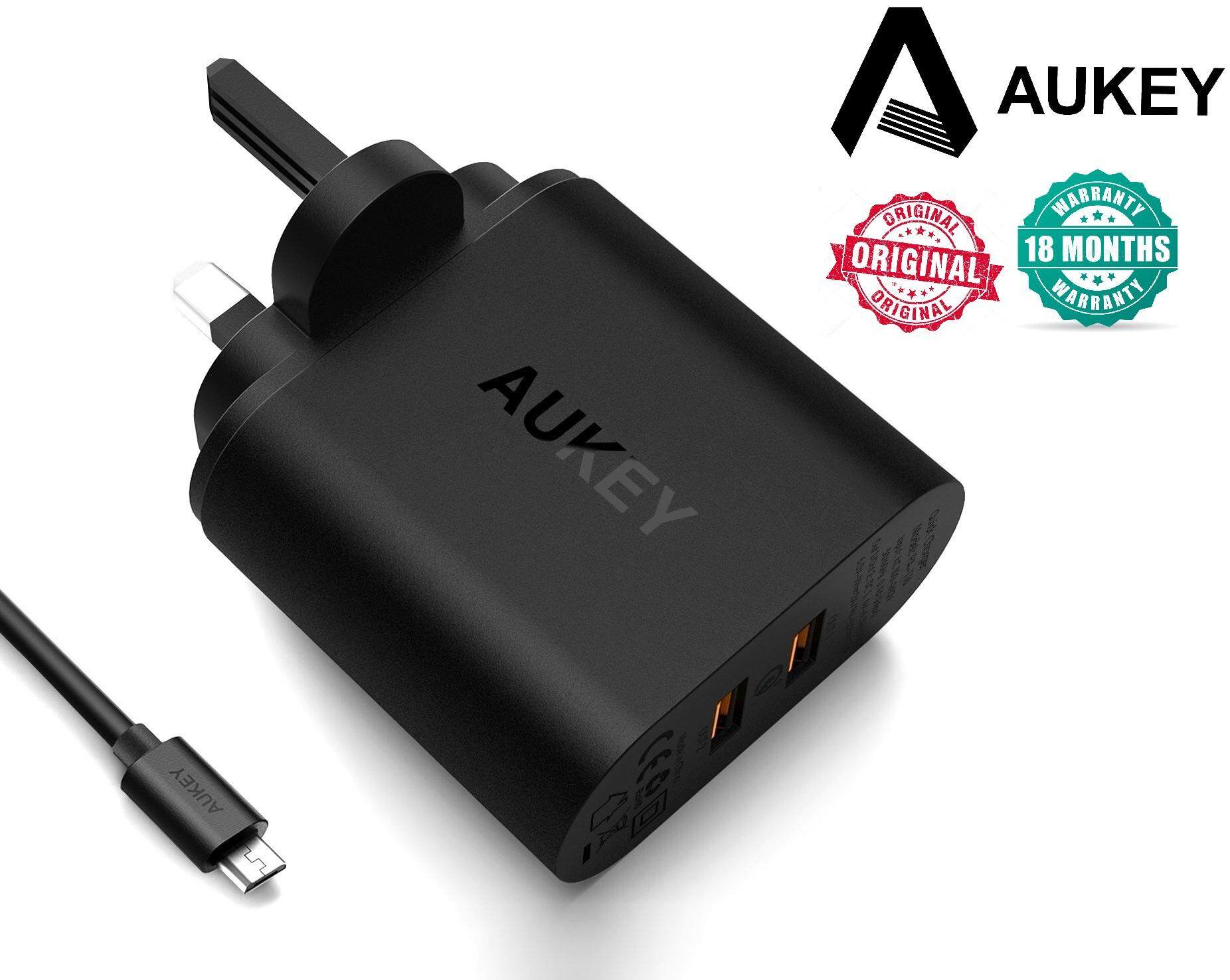 Aukey PA-T16 3Pin Dual USB Certified Qualcomm Quick Charge 3.0 Charger (3Pin) (18 MONTHS WARRANTY)