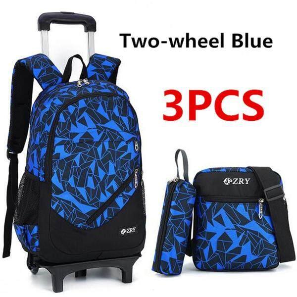 3Pcs Kids Teenagers School Bags Boy Removable Trolley Backpack Bag With Wheels #2 wheel
