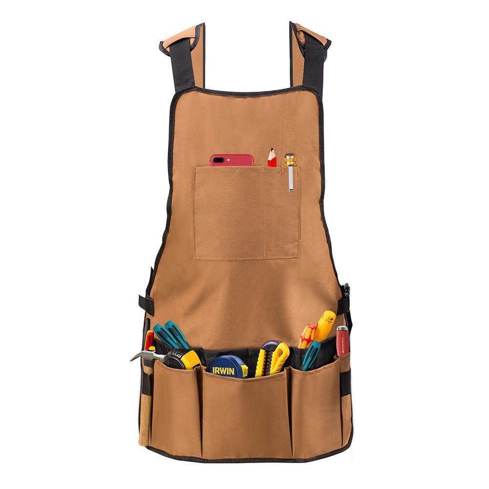OrzBuy Work Apron, Heavy Duty Oxford Canvas Shop Apron With Pockets - Multiple Pockets To Organize Your Tools - Adjustable Shoulder And Waist Padded Straps - Waterproof And Protective Tool Apron - intl