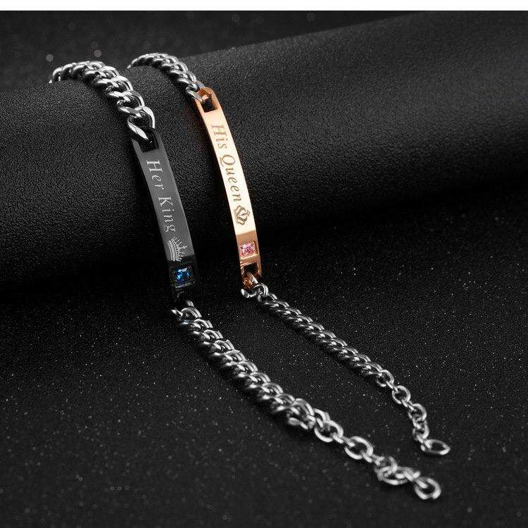 Her King(Black) + His Queen(Rose Gold) Couple Bracelet