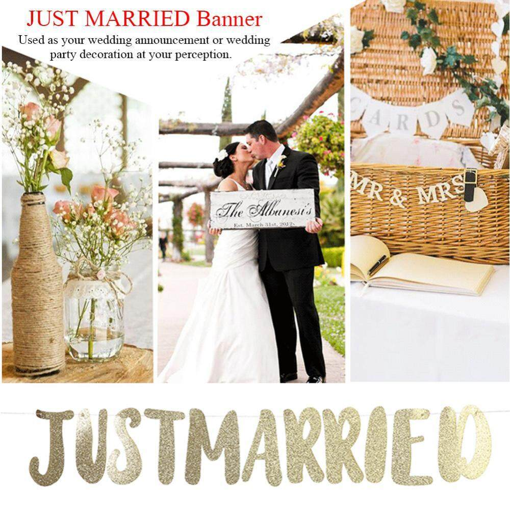 Just married banner bunting letter streamer bridal shower wedding decoration wall light switch furniture stickers decal