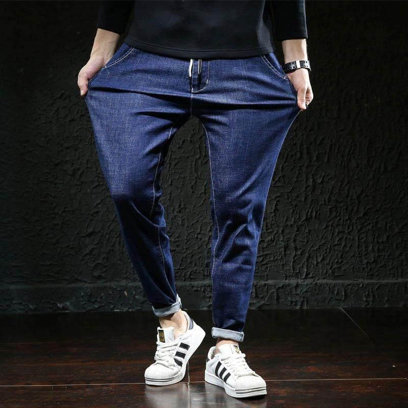 Ukuran Plus Jeans dengan Ikat Pinggang Elastis Kokoh Warna Hitam Biru Merenggang Celana Denim Besar Ukuran
