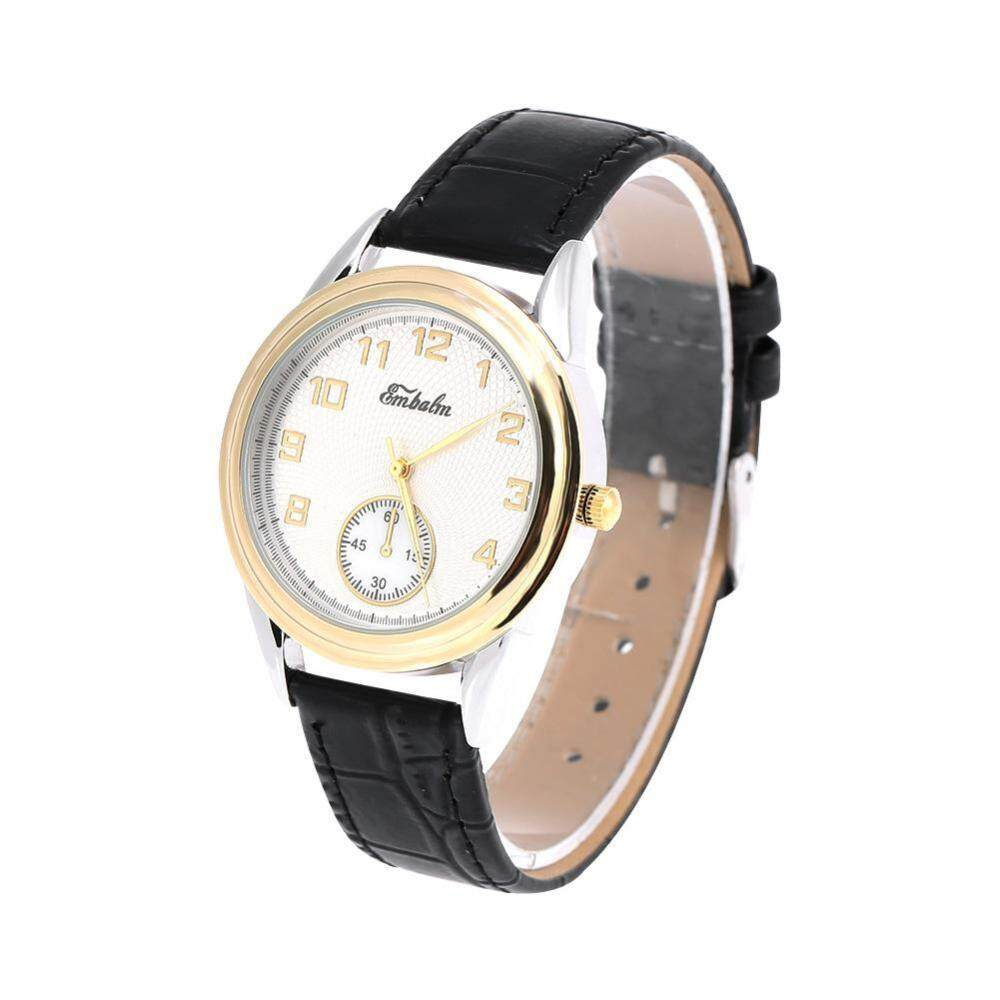 2Colors Female Quartz Wrist Watch Round PU Strap Business Wristwatch - intl